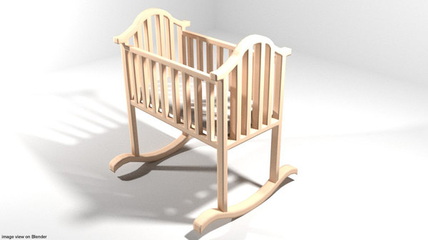 baby bed rocking 3D model