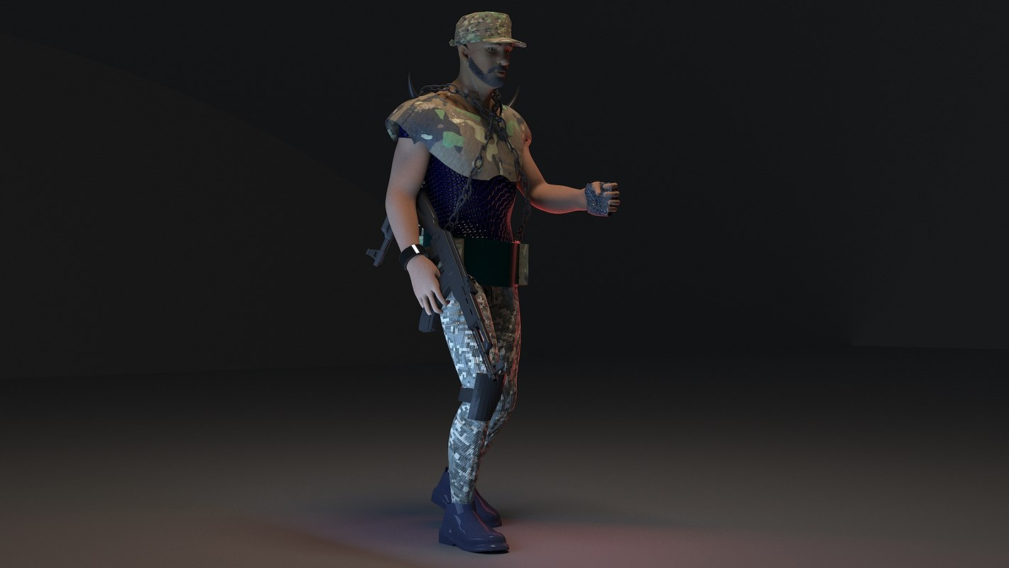3D soldier rigged