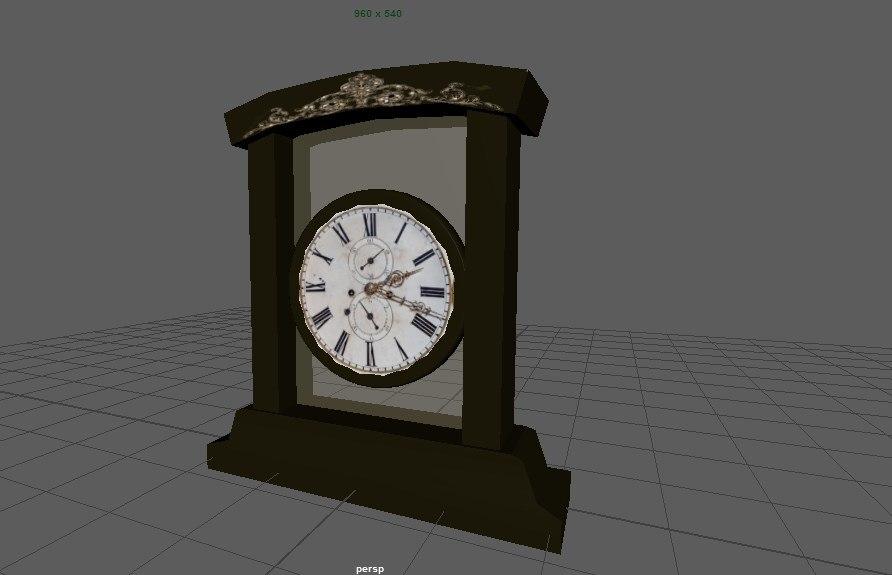 3D old vintage clock model