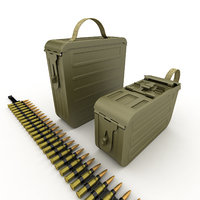3D model ammunition boxes machine gun