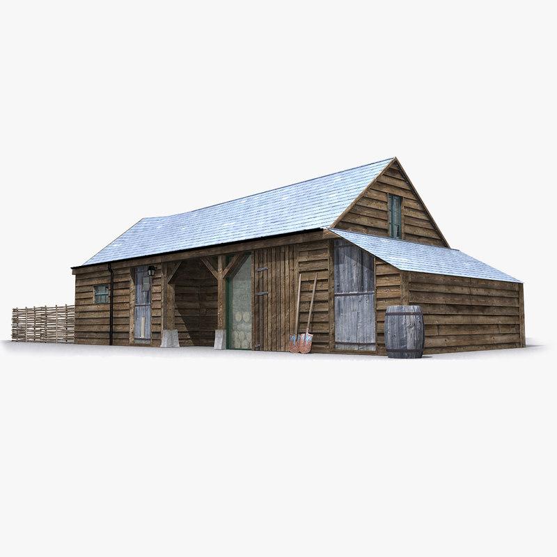 photorealistic old barn model