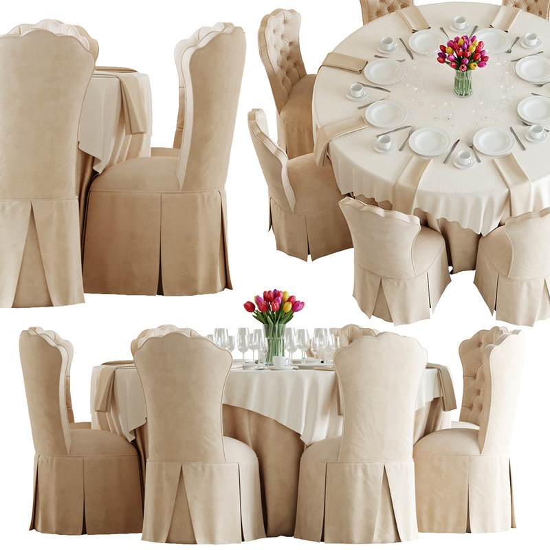 3D eight-seated banquet table chair