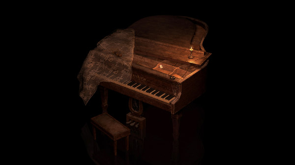 3D piano old chair model