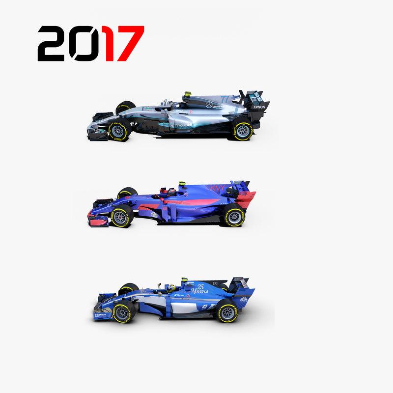 3 formula 2017 cars 3D model
