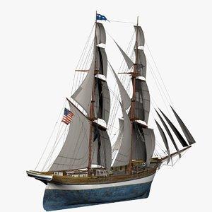 3D model brig ship 1874