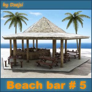 3D tropical beach bar