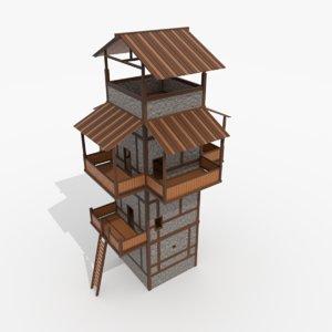 3D roman fantasy watchtower model