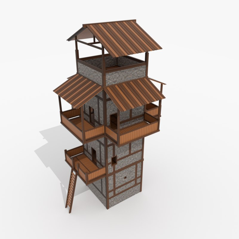 3D roman fantasy watchtower model