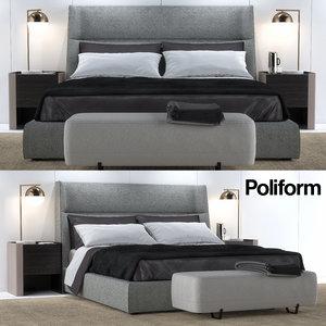 bed poliform letto 3D