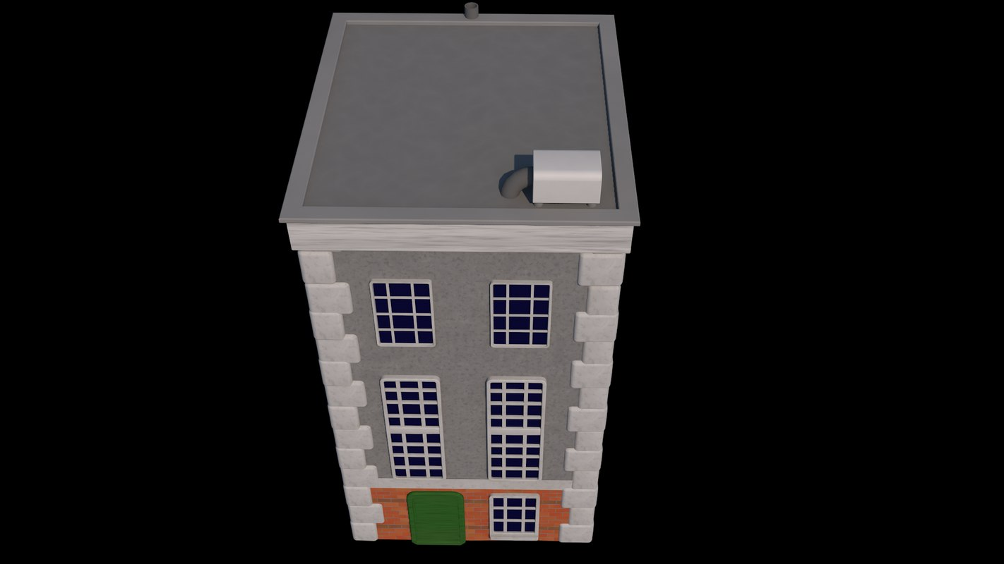 3D model vierkant gebouw