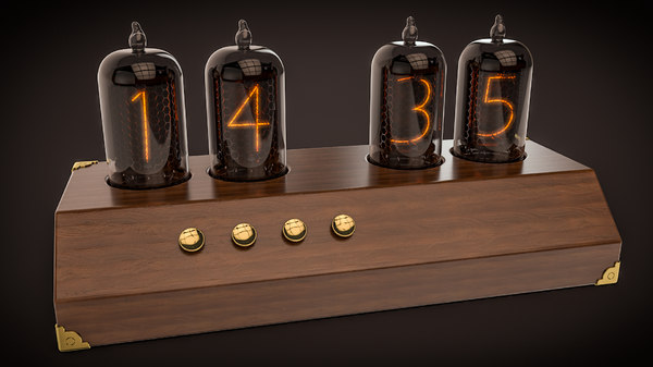 steampunk retro clock nixie 3D