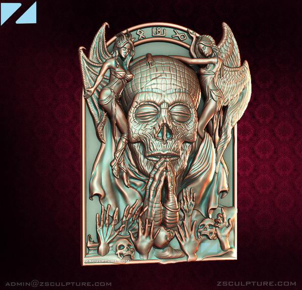 pendant necklace human angel 3D