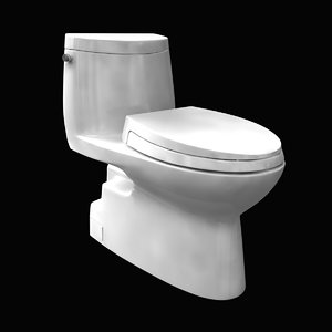 3D toilet 1 one-piece elongated model