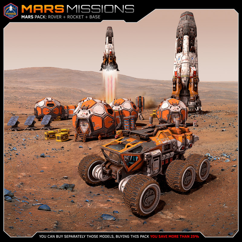 mars rover rocket 3D model