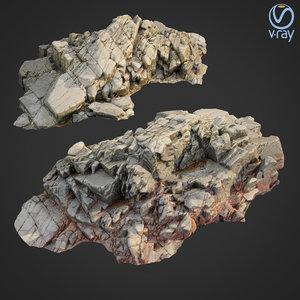 scanned rock cliff b2 3D