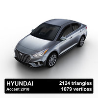 3D 2018 hyundai accent model