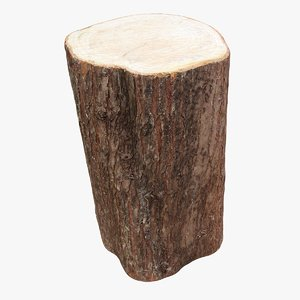 3D model retopology tree trunk seat