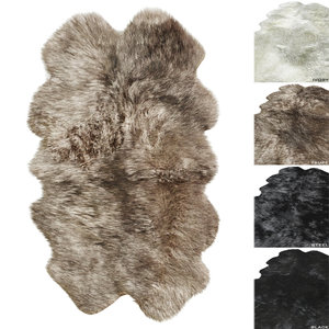 3D hardware rug naturally sheepskins model