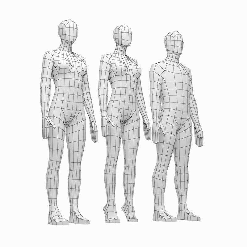 3D human male female bodies model