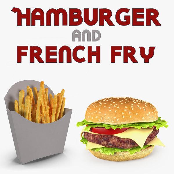 hamburger french fry 3D model