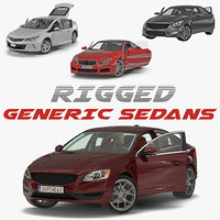 Generic Sedans Rigged 3D Models Collection