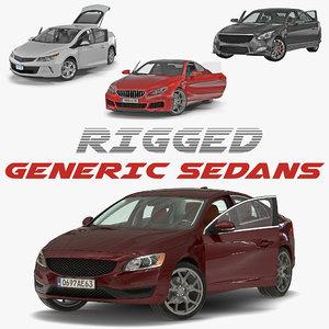 3D generic sedans rigged