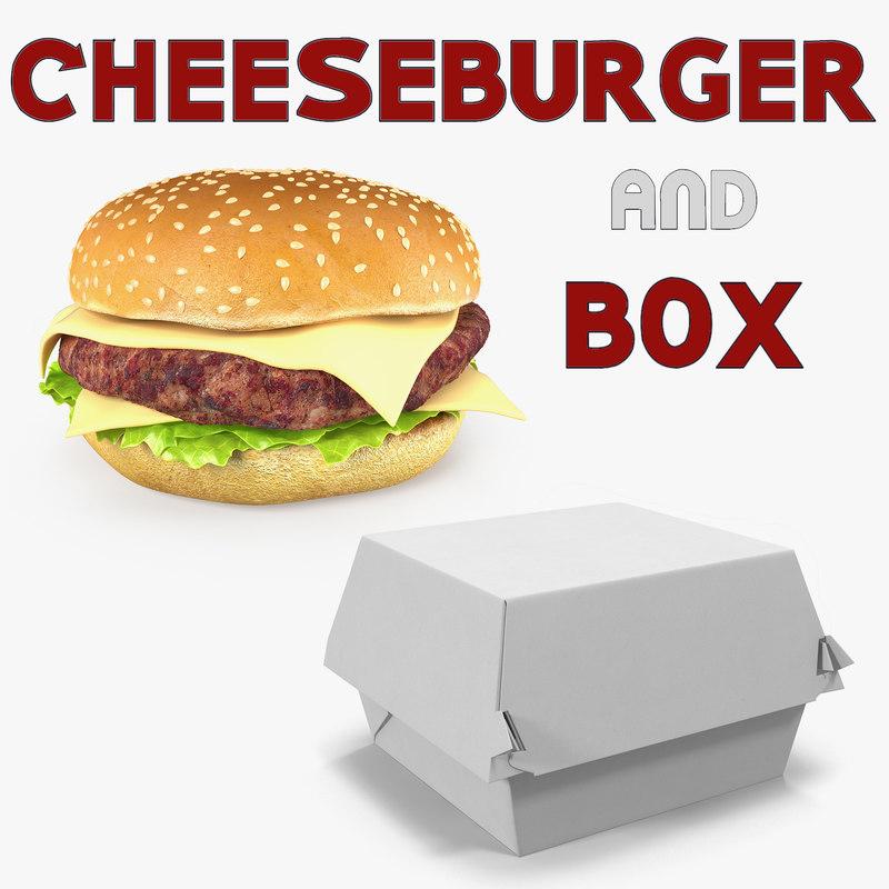 3D model cheeseburger box burger