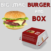 Big Mac Burger and Box 3D Models