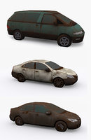 old ruined cars model