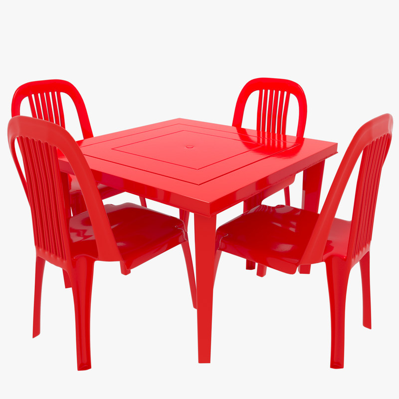 3D plastic chairs table