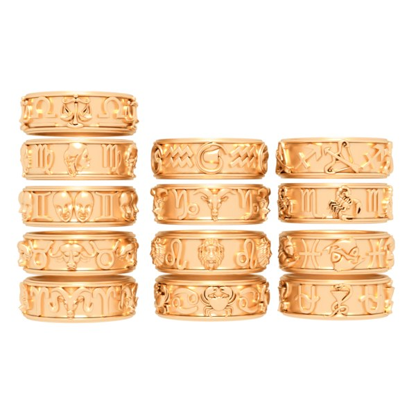 3D pack rings zodiac