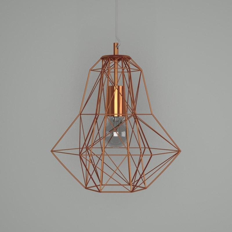 3D copper wire mesh light model
