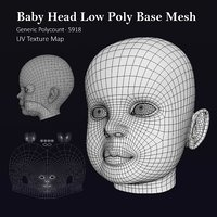 Human Baby Head Low Poly Base Mesh