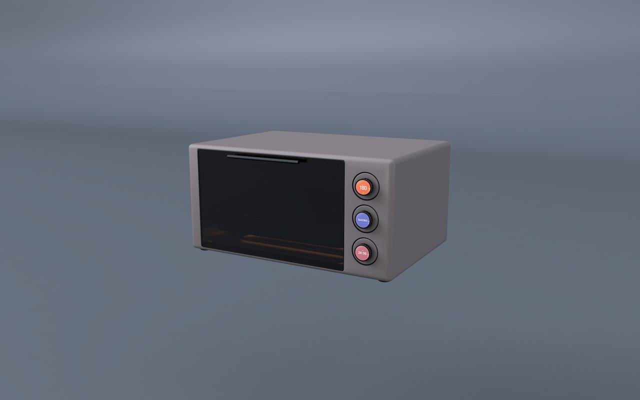 futuristic minimalistic toaster oven 3D model
