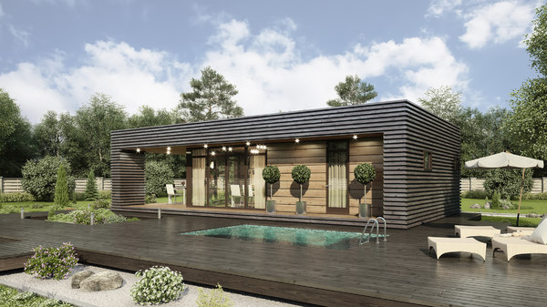 3D small tech house exterior model