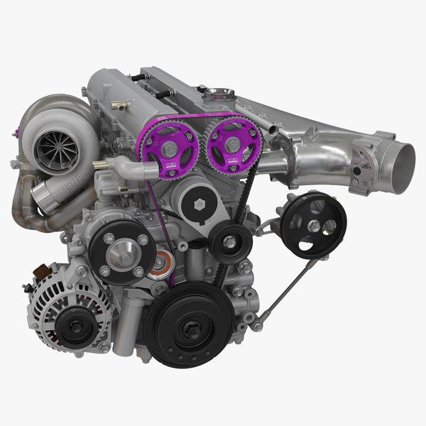 3D toyota engine 2jz-gte