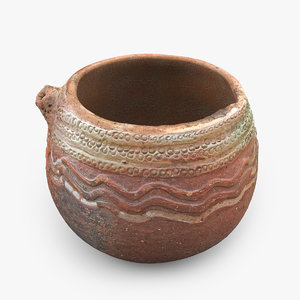 3D ancient saudi pottery pitcher