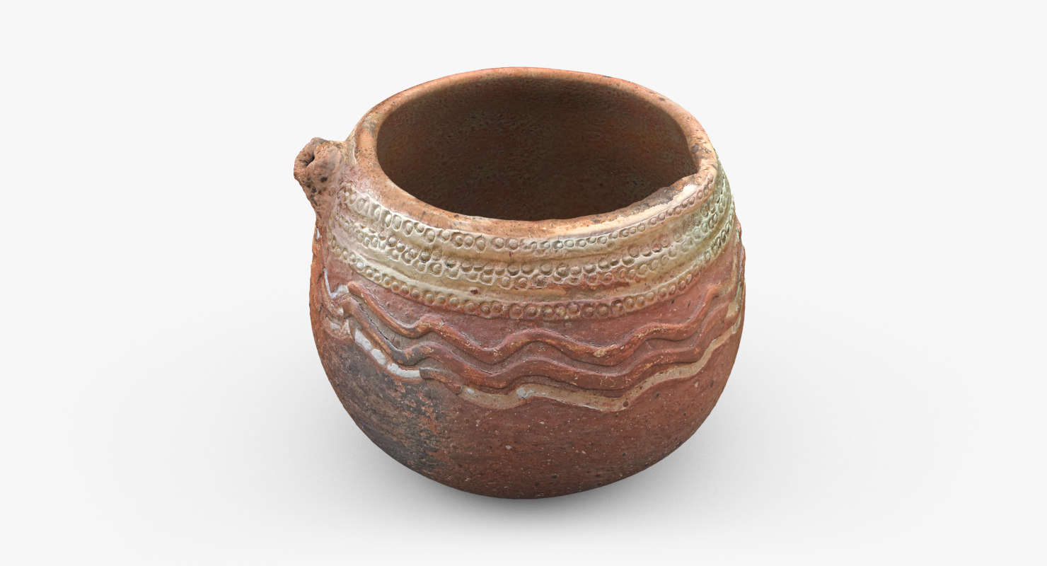 3D ancient saudi pottery pitcher