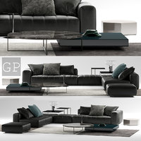 minotti freeman black sofa 3D