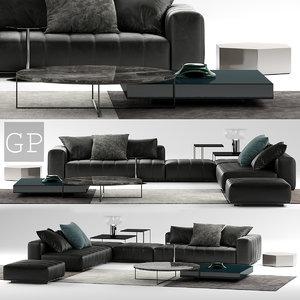 minotti freeman black sofa 3D