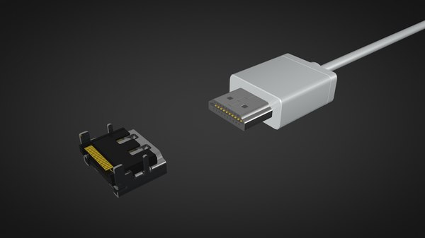 hdmi male female connector 3D model