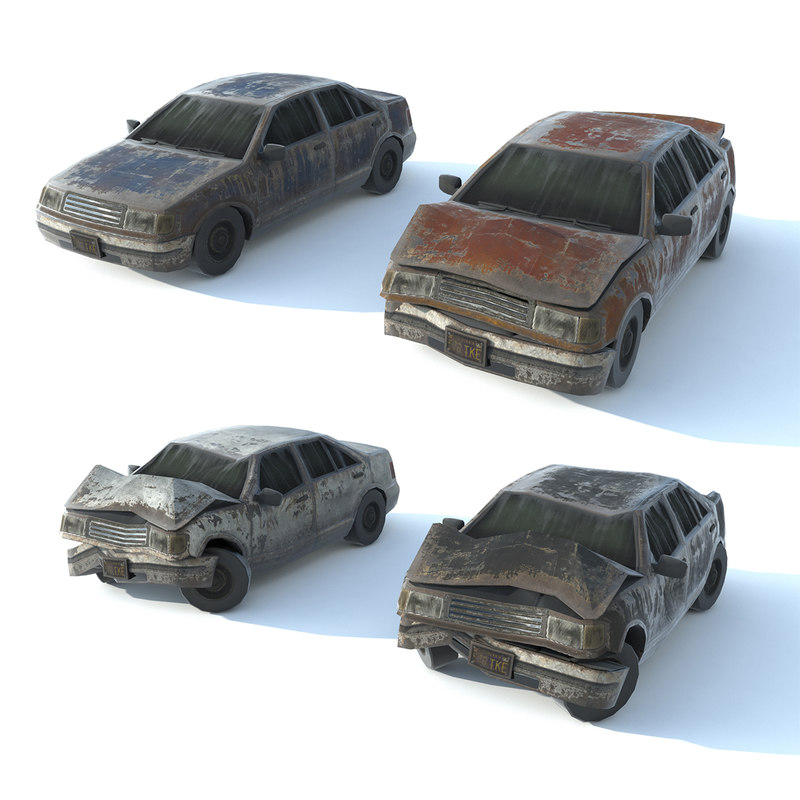 old ruined cars 1 3D model