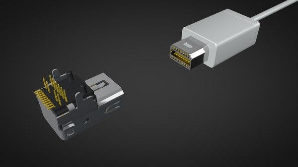 3D mini display port dp model