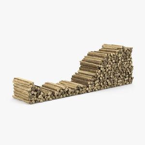 stack firewood 3D model