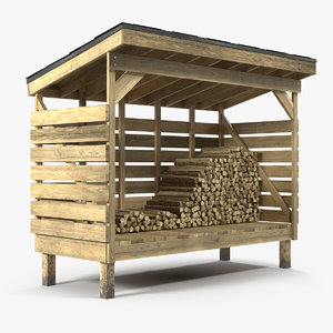 3D small woodshed stack firewood model