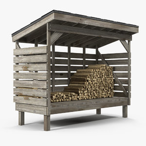 old woodshed stack firewood 3D