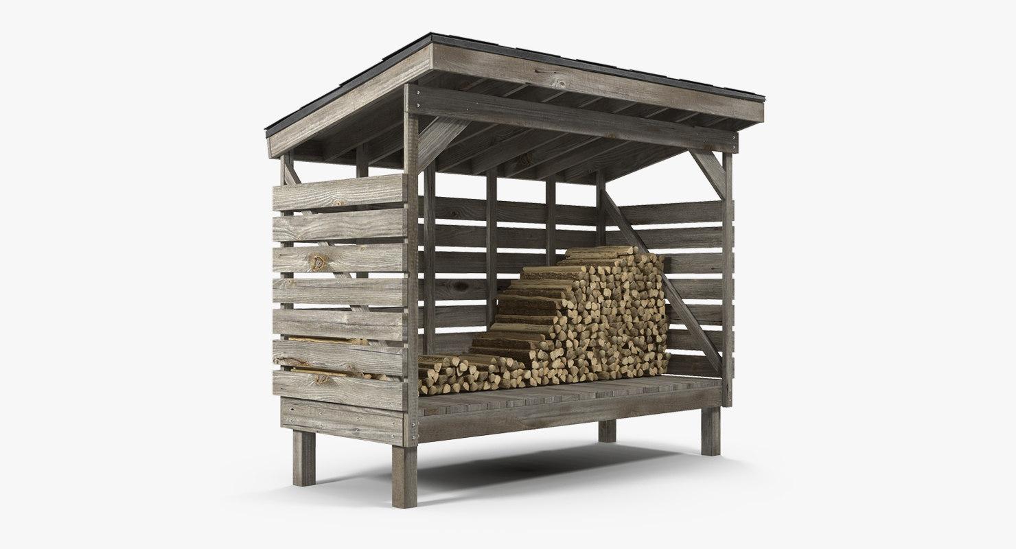old woodshed stack firewood 3D