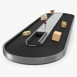3D belt conveyor cardboard boxes model