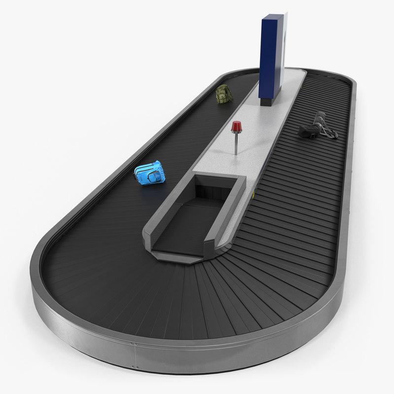 belt conveyor baggage rigged 3D
