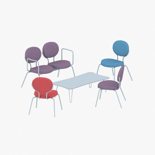 - sets chairs table 3D model
